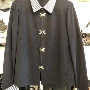 ST. JOHN COLLECTION Black Knit Zip Front Jacket